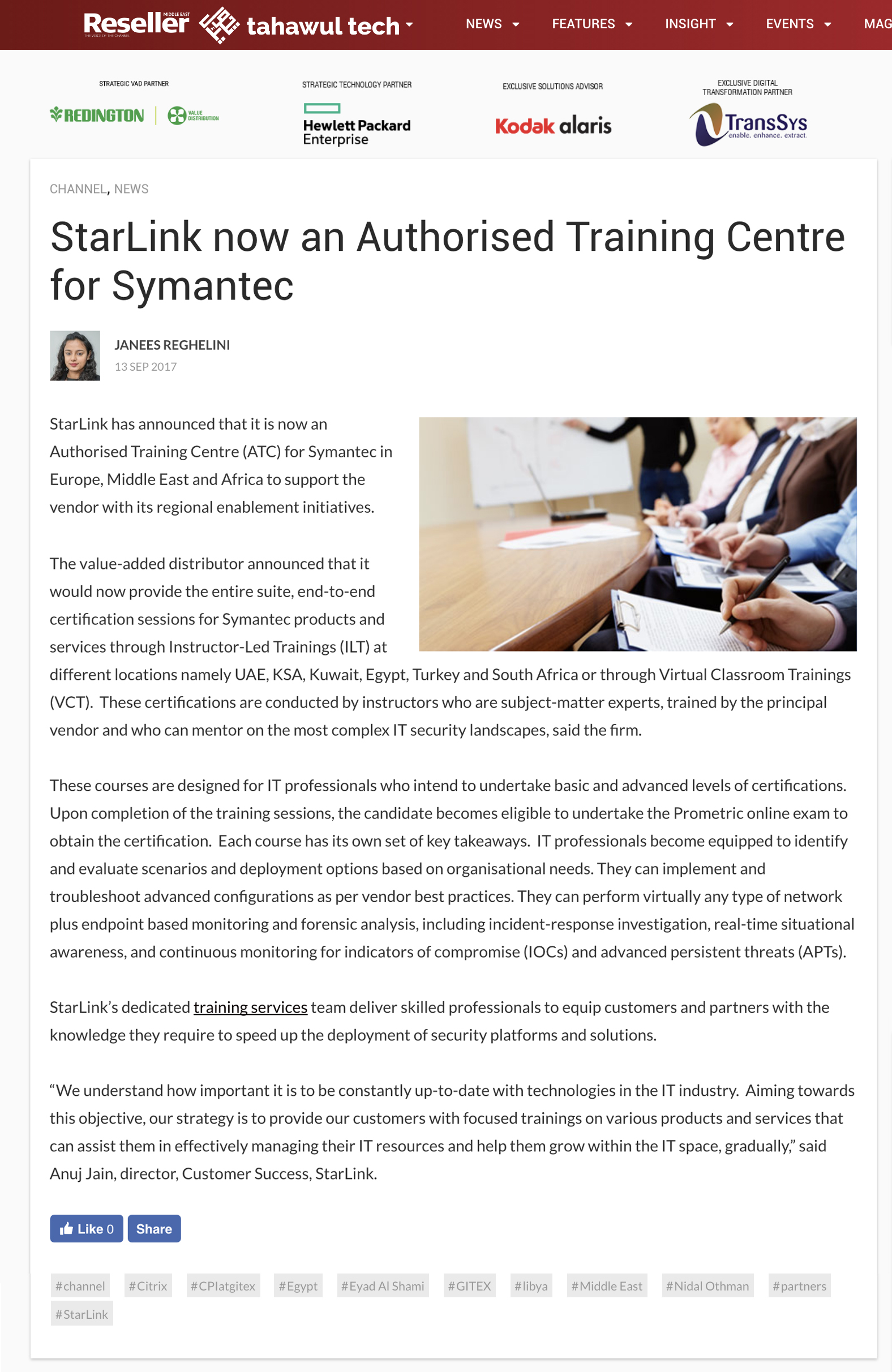 Starlink Press Starlink Authorized Training Centre For Symantec